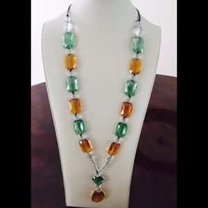 Jewelry - Long Crystal Necklace on leather cord silver clasp